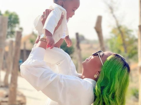 Checkout Adorable Photos Of Regina Daniels And her Son.