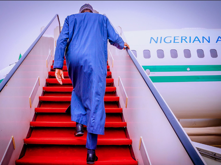 Pictures Showing The Moment President Buhari Departs For London For Routine Medical Check-up