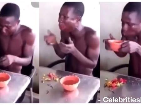 Thief Made To Eat Raw Pepper And Drink Hot Water After Being Caught: Watch Video Below
