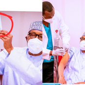 Checkout What Was Spotted On Buhari's Hand After He Took The Covid-19 Vaccine That Got Reactions