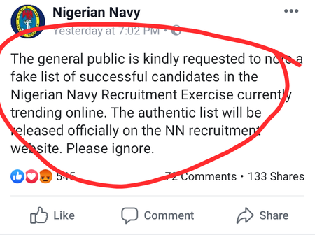 Nigeria Navy Message To All The Applicants Regarding Fake List That Is Trending On Social Media.