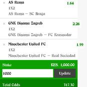 Thursday's Multibet Teams With Both Teams To Score, Correct Score And 210.65 Odds To Earn Massively.