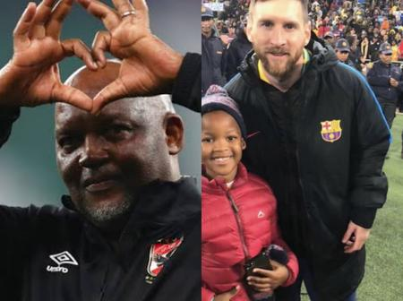 Pitso Mosimane Trips Down Memory Lane & Recalls The Moment His Son Took A Picture With Messi