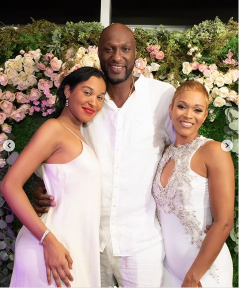 Lamar Odom and his fiancee Sabrina Parr share lovely photos from their all-white engagement party