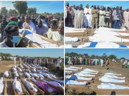 VIDEO] Governor Zulum Leads Residents To Bury Farmers Killed By Boko Haram