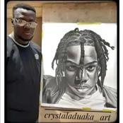Rema rewards artist who spent hours sketching a portrait of him