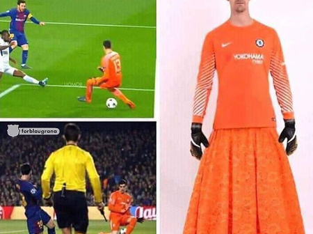 Check Out Hilarious Memes Of Chelsea's Goalkeeper, Kepa Arrizabalaga, In Skirts (PHOTOS).