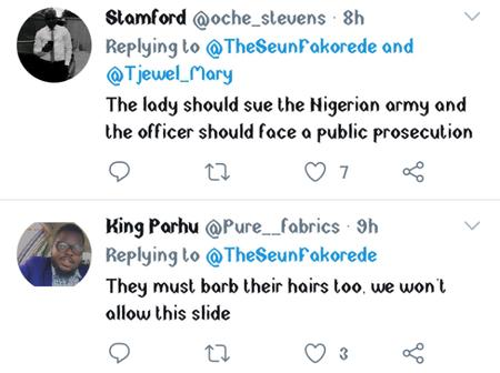See people's reaction as Nigerian soldiers that flogged woman over