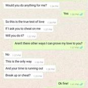 Watch : She Asked Me To Cheat On Her I did And The Unthinkable Happened (read chats)