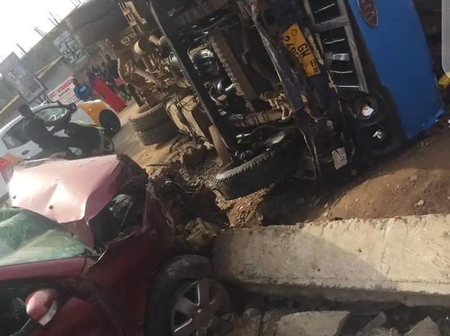 School Bus transporting 30 children involved in a fatal accident at Agona Swedru.