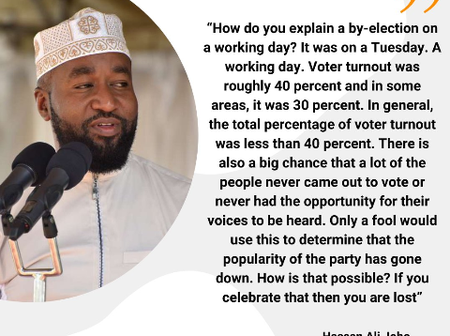 Joho: ODM Lost Msabweni By-Election Because It Was On A Week Day