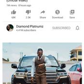 Diamond Breaks Davido's Record By One Million Views On YouTube In 8Hours On New Single Waah