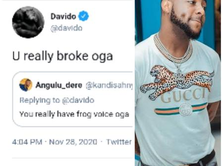Fans React After Davido Blasts Fan As He was called Out For Having a Frog Voice
