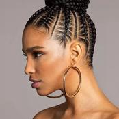 Cute African cornrow braid hairstyles with an updo