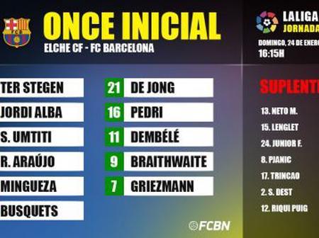 Lineups of the Elche-FC Barcelona of LaLiga 2020-21