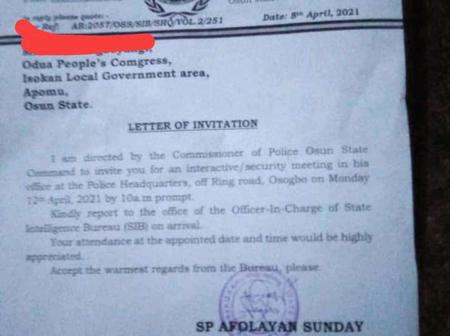 Check Out The Letter Which Was Allegedly Sent To An Oduduwa Coordinator That Sparked Reactions