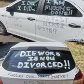 Look at what this man wrote on his car after his divorce