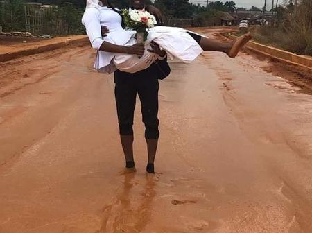 Hilarious photos of couple who celebrated their honeymoon on a terrible road in Imo State