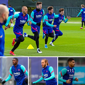 Barcelona players back in training ahead of their Copa del Rey Final against Bilbao this Saturday