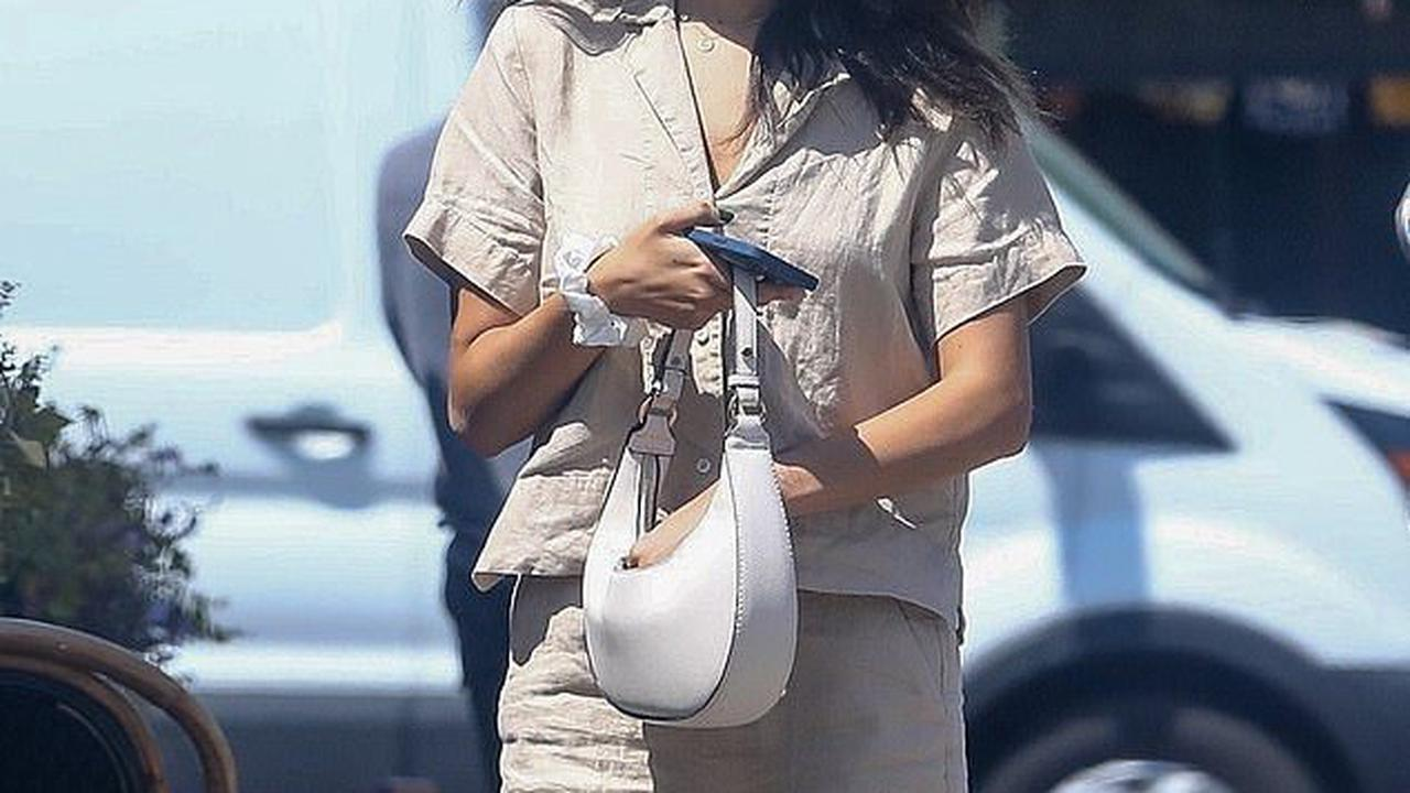 Eiza Gonzalez slips her fit physique into a chic linen two piece for lunch in Los Angeles