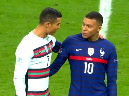PSG star Kylian Mbappe reacts after meeting his Idol in France's draw against Portugal (Photos)