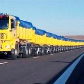 Photos Of World Longest Truck Which Has More Than 100 Wheels And Weighs 205 Tonnes