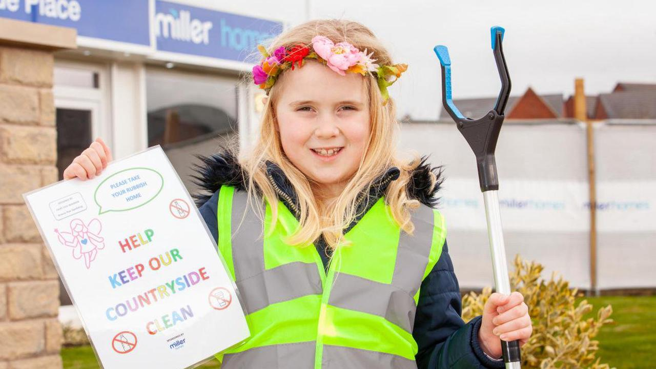 Clitheroe school-girl on litter picking mission with housebuilder