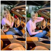 Jnr Pope and others react as Regina Daniels shares gorgeous photos of herself driving her Ferrari.