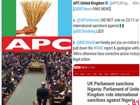 After UK parliament reportedly sanctioned Nigeria, APC in UK gives BBC 48hours to do these 2 things