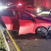VW polo driver crashes his car in an empty road during curfew.