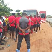 Players Of Enugu Rangers Visit The Spot Where Their Late Striker Died In An Accident [PHOTOS]
