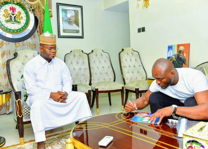 Nigerian UFC star, Kamaru Usman meets Governor Yahaya Bello (Photos)