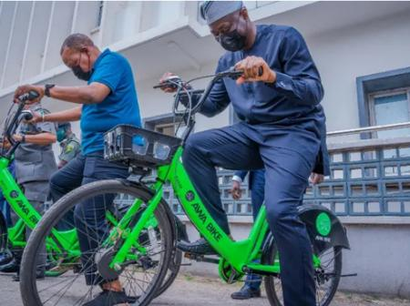 Nigerian Governor Spotted Ridding Bicycle, See Reactions