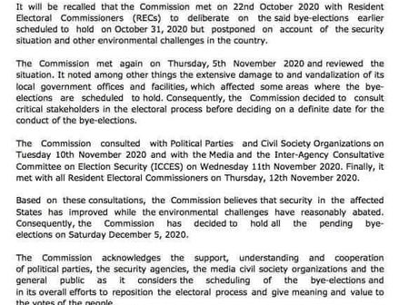 INEC Has Finally Fixed A New Date For All Senatorial Bye-Elections