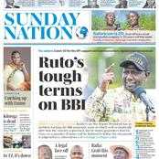 Sunday Nation And Sunday Standard Newspaper Headlines About DP Ruto on BBI