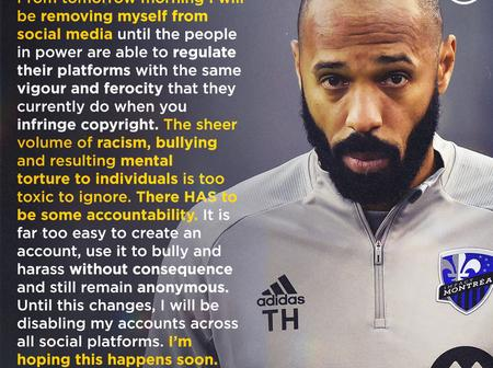 Thierry Henry To Quit Social Media Platforms.