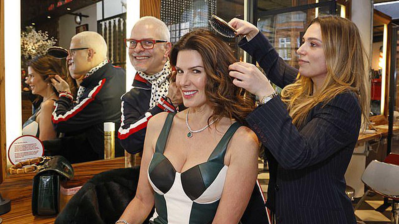 Still living the high life! Ex-Pirelli model Christina Estrada who won £75MILLION when she divorced a Saudi billionaire is the epitome of glamour as she gets her hair trimmed at a celebrity salon in Chelsea