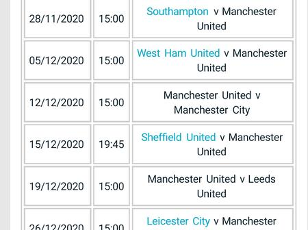 See Man United's next 15 EPL fixtures. They may likely not survive their next 3 matches.