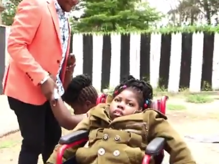 Umoja Woman Sheds Tears as Jalang'o Gifts a Wheelchair for her Disabled Child