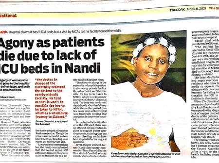 Senator. Kiprotich Cherargei Mourns Lady Who Died Due To Lack Of ICU Beds In Nandi
