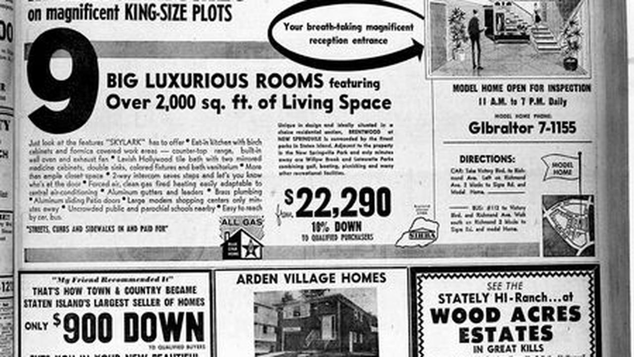 Advance historic page from Sept. 5, 1964: New homes on Staten Island