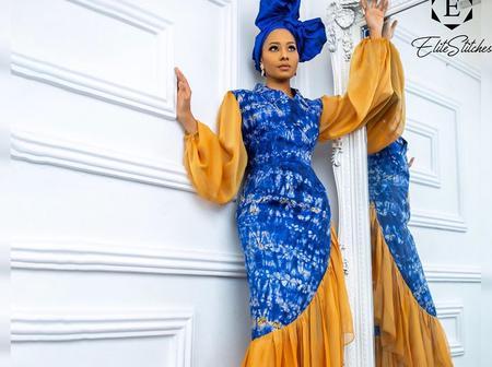 Decent And Elegant Ankara Chiffon Mixed Styles For Matured Women.