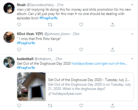#PrayForYe trends on Twitter following Kanye West