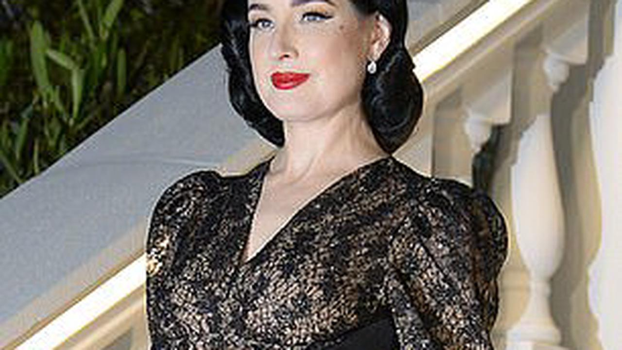 Dita Von Teese and Hayley Hasselhoff dazzle in jaw-dropping black ensembles as they up the glam at the Villa Remus party in Mallorca