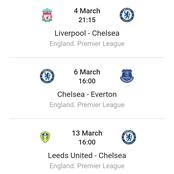 Chelsea's Next 3 Premier League Fixtures In This Month