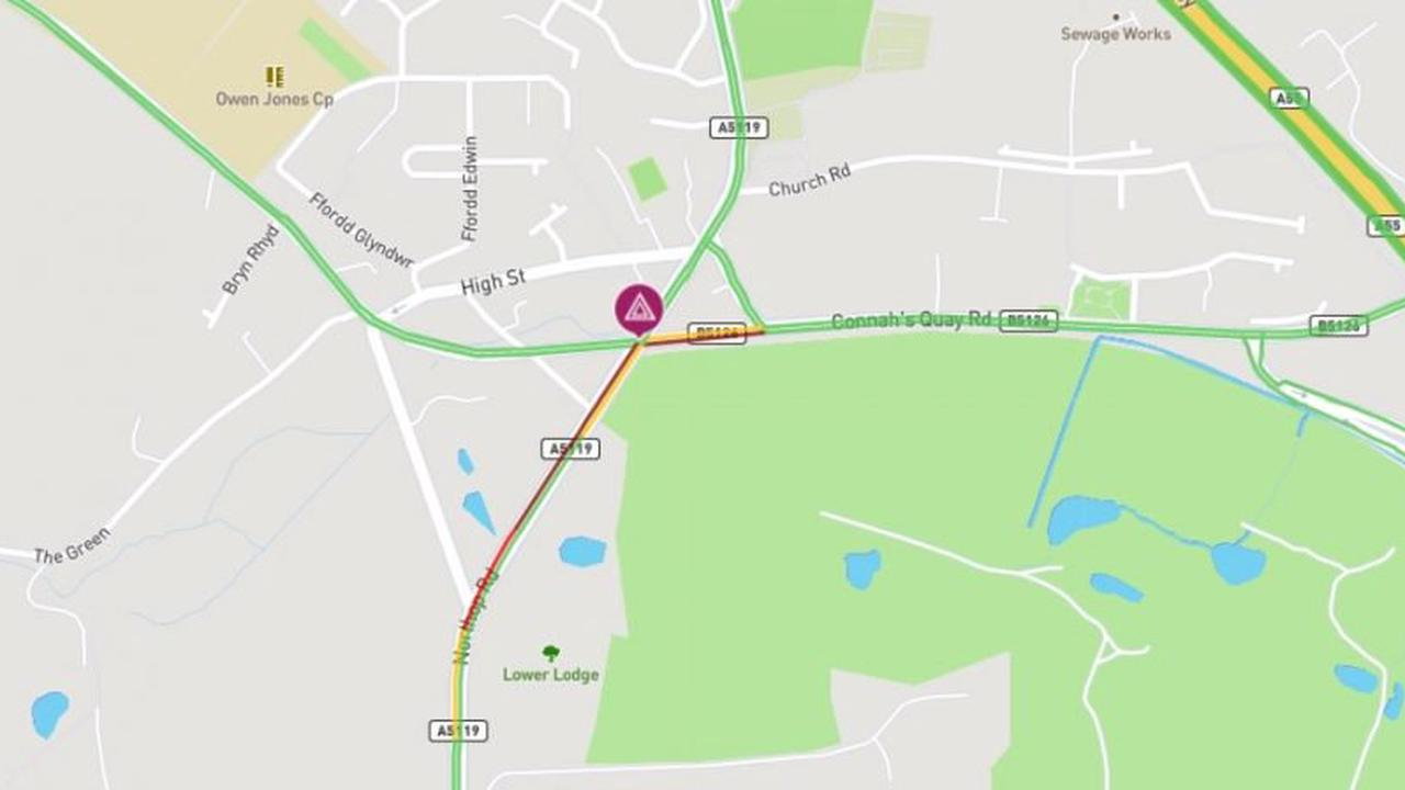 Reports of a collision in Northop causing some congestion