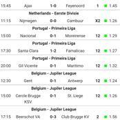Monday matches with over 121odds to stake on