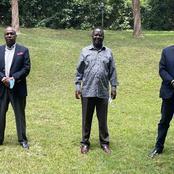 Speculations as Raila Meets Gideon Moi Alongside Uhuru's Brother Muhoho Kenyatta in Karen, Nairobi