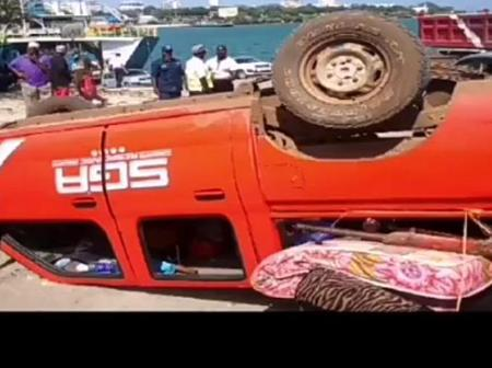A Car Overturned at the Likoni Channel Station