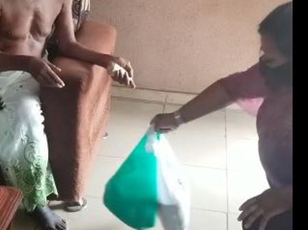 Foluke Daramola Visits Oldest Veteran Actor, Charles Olumo With Food Items and Money (Video)